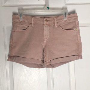 Salmon Mid-Rise Midi Jean shorts